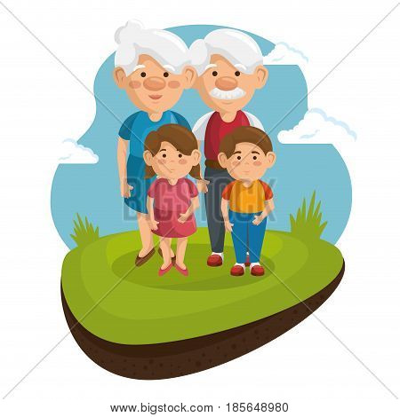 Grandparents and grandchildren at park with green grass and blue sky over white background. Vector illustration.