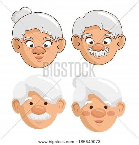 Elder people over white background. Vector illusitration.