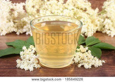 Healthy Juice And Elderberry Flowers On Board, Alternative Medicine Concept