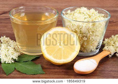 Flowers And Juice Of Elderberry, Ingredients For Preparing Beverage On Board, Alternative Medicine C