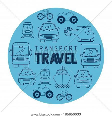Transport travel icon with hand-drawn means of transport over white background. Vector illustration.