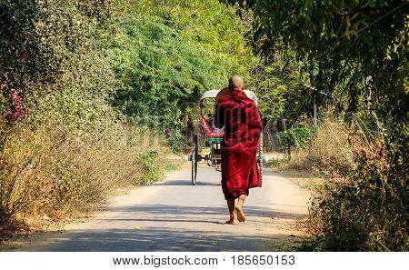 Buddhist Monk Walking On Rural Road In Myanmar