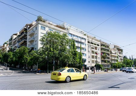 ATHENS, GREECE - May 3, 2017: Street view of old buildings in Athens.