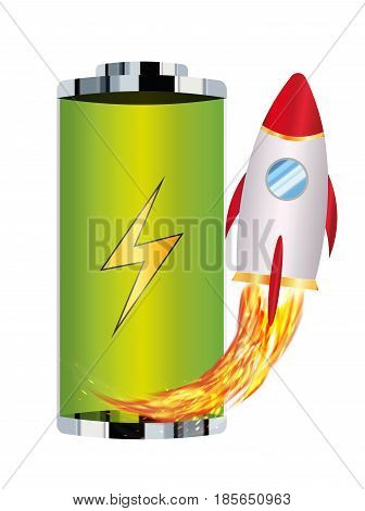 green battery with toy rocket boost up