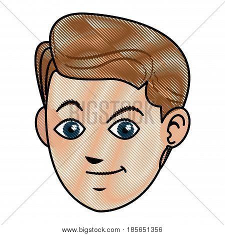 drawing face boy smiling avatar design vector illustration