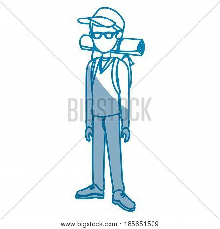 happy teenage boy posing traveler vacation vector illustration