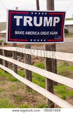 WALLA WALLA WA/UNITED STATES - MARCH 23: A local resident has a campaign sign showing support for Donald Trump on March 23 2017.
