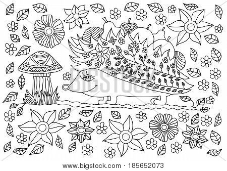 Monochrome ink drawing. Cute hedgehog with fruits and mushrooms. Coloring book for adults and children