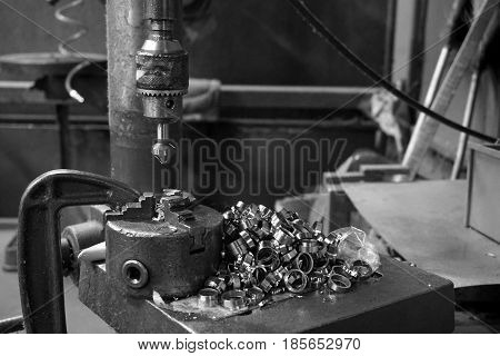 made group of spare parts from machine tool in factory