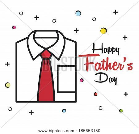 Happy father day card with formal shirt and red tie over white background. Vector illustration.