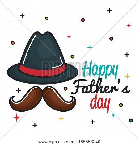 Happy father day card with trilby hat and mustache over white background. Vector illustration.