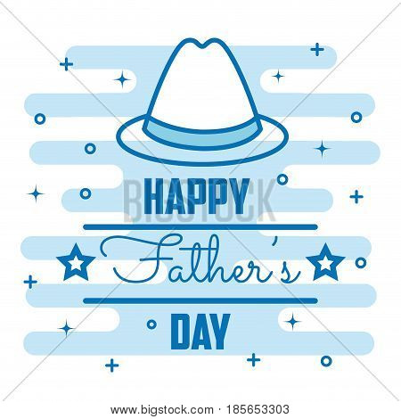 Happy father day card with hand-drawn trilby hat and stars over white and blue background. Vector illustration.