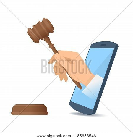 A human hand through the mobile phone's screen holds a wooden gavel. Modern technology smart phone app and online auction flat concept illustration. Vector design element isolated on white background