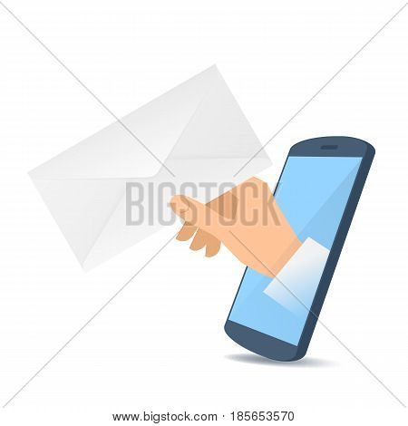 A human hand through the mobile phone's screen holds a paper envelope. Modern technology email message smart phone apps flat concept illustration. Vector design element isolated on white background.