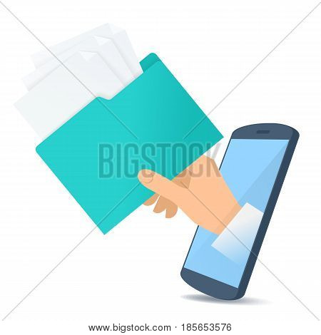 A human hand through the mobile phone's screen holds an office folder with documents. Modern technology smart phone apps flat concept illustration. Vector design element isolated on white background.