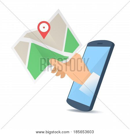 A human hand through the mobile phone's screen holds a navigation map. Modern technology and smart phone apps gps flat concept illustration. Vector design element isolated on white background.
