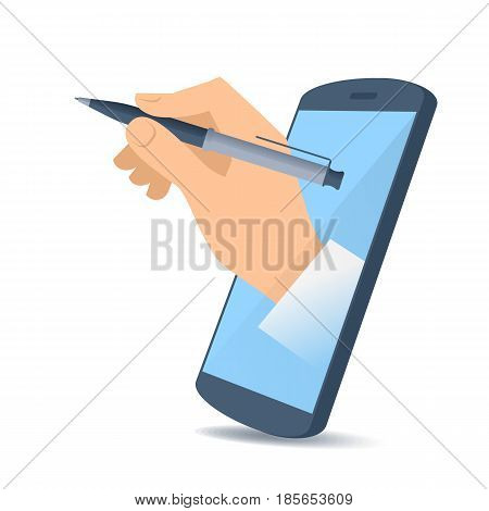 A human hand through the mobile phone's screen holds an office pen. Modern technology smart phone apps and text editor flat concept illustration. Vector design element isolated on white background.