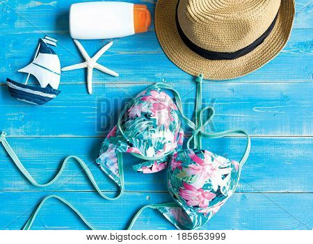 Women's summer beach clothes background, summery concept