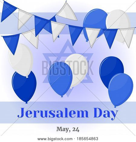 Jerusalem Day background or greeting card with flags and baloons in simple cartoon style. Vector illustration for you design, card, banner, poster, calendar or placard template. Holiday Collection.