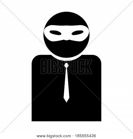 The Man Incognito In A Mask The Black Color Icon.
