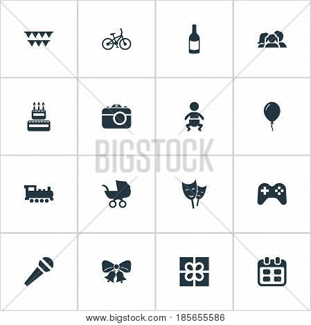 Vector Illustration Set Of Simple Holiday Icons. Elements Speech, Camera, Mask And Other Synonyms Carriage, Infant And Fizz.