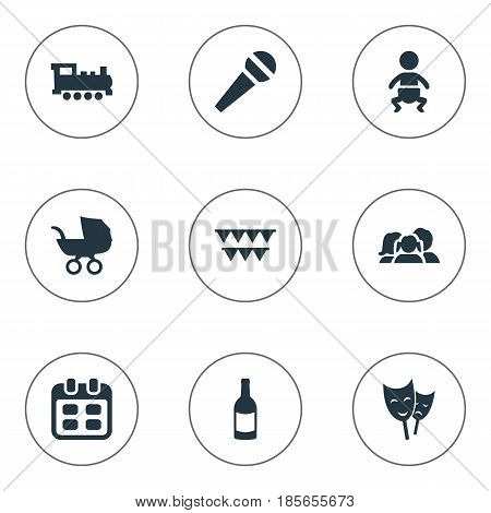 Vector Illustration Set Of Simple Celebration Icons. Elements Speech, Train, Infant And Other Synonyms Steam, Fizz And Party.