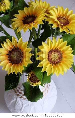 Clay Art, Yellow Sunflower Pot