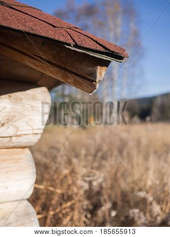 Corner of a wooden hut with a view of the nature