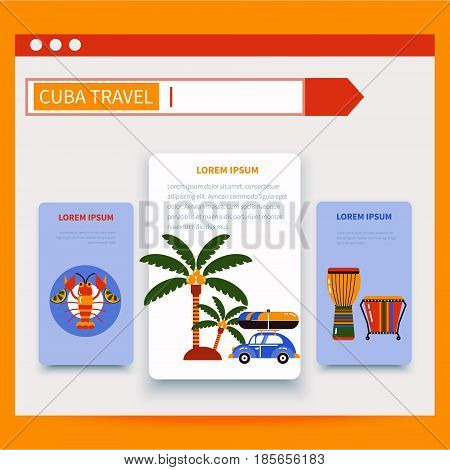 Cuba. Havana. Tourism illustration. The browser page with the search string. The tabs are shown the symbols of Cuban culture and food.