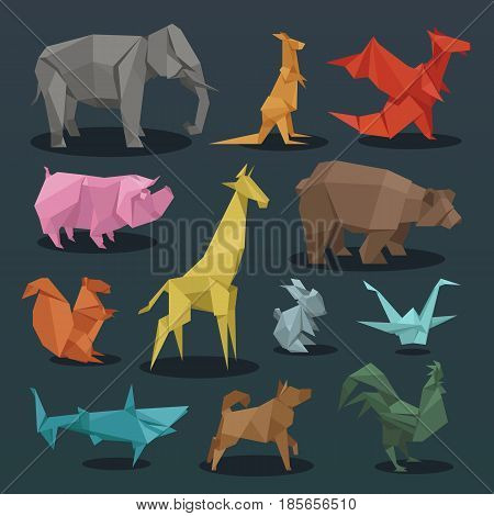 Animals origami set of wild animals creative decoration vector illustration.. Geometric nature traditional japan polygon asian toy. Paper animals