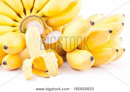 half peeled egg banana and  two hand of Golden bananas  on white background healthy Pisang Mas Banana fruit food isolated