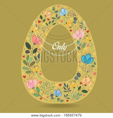Yellow Letter O with Folk Floral Decor. Colorful watercolor flowers and plants. Small hearts. Graceful pearl necklace with text Only. Vector Illustration
