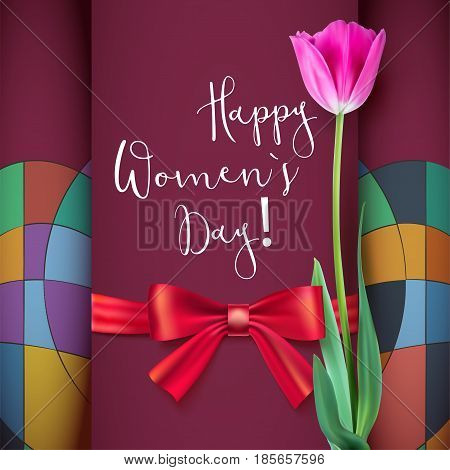 Template greeting card with Tulip and red bow. Happy women s day, congratulations for nice and lovely people. Realistic Tulip flower on a geometric background.