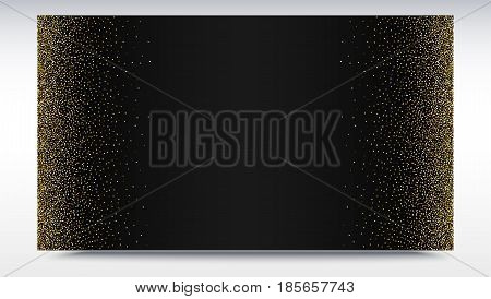 Black gradient backdrop with golden, shiny, glitter dust. Abstract metallic pattern. Horizontal picture frame. Template for advertisement, VIP or luxury card, selling banner, cover and other design.