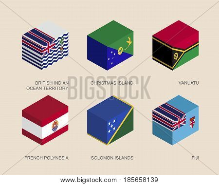 Set of isometric 3d boxes with flags of countries in Oceania. Simple containers with standards - Vanuatu, Fiji, Polynesia, Solomon Islands, Christmas Island, British Indian Ocean Territory
