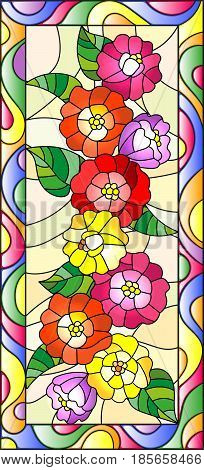 Illustration in stained glass style with flowersbuds and leaves of zinnias in a bright framevertical orientation