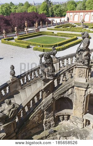 Troja Palace in sunny daysculptures at the entrance Prague Czech Republic Europe