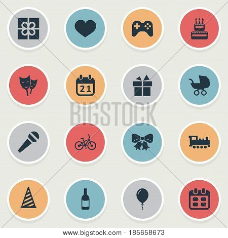 Vector Illustration Set Of Simple Celebration Icons. Elements Special Day, Confectionery, Soul And Other Synonyms Sweetmeat, Cap And Box.