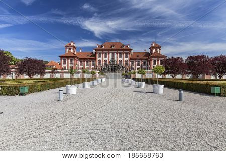 Troja Palace in sunny day, Prague, Czech Republic, Europe