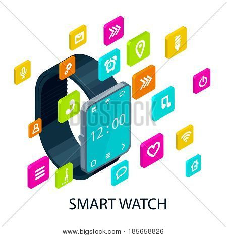 Isometric portable smart watch concept with different colorful square icons and signs of applications vector illustration