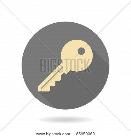 Fine golden key icon in the circle. Flat design and long shadow