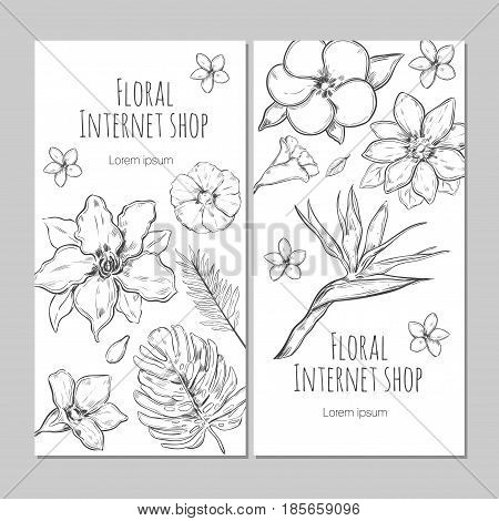 Hand drawn exotic plants vertical banners with flowers and leaves for floral internet shop vector illustration