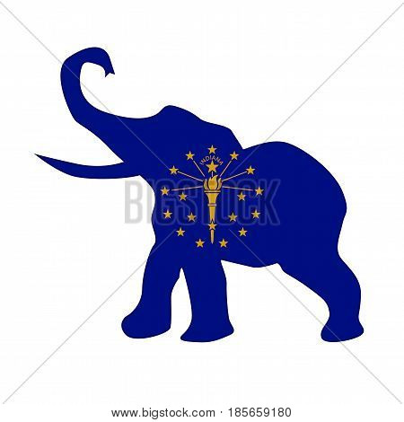 The Indiana Republican elephant flag over a white background