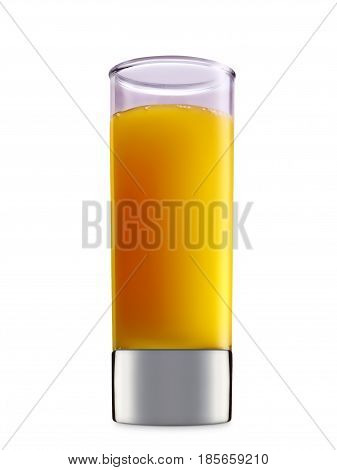 fresh fruit alcohol cocktail or mocktail mimosa in shot glass with orange beverage isolated on white background