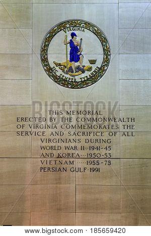 Virginia War Memorial - Richmond, Virginia