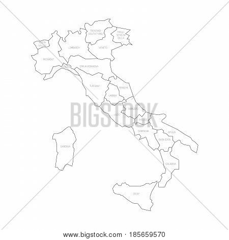 Map of Italy divided into 20 administrative regions. White land, black borders and black labels. Simple flat vector illustration.