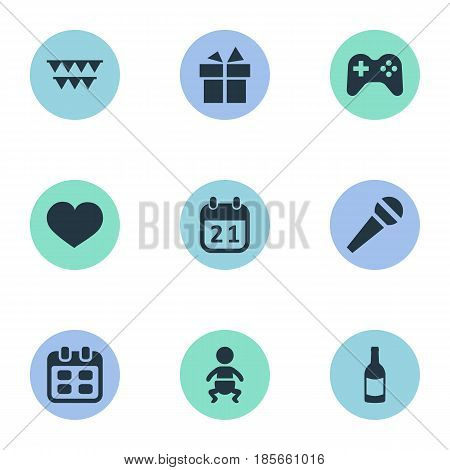 Vector Illustration Set Of Simple Birthday Icons. Elements Infant, Beverage, Days And Other Synonyms Fizz, Heart And Day.