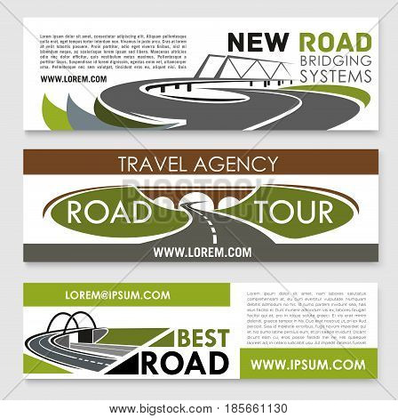 Road travel and construction banners set for highways investment, bridge building and tunneling company. Vector design of road path and transportation lanes for transport development service