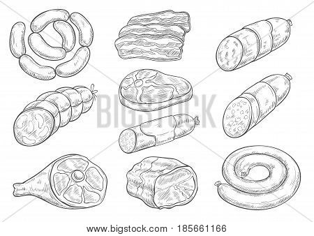 Meat products and butchery delicatessen vector sketches. Isolated bacon brisket, frankfurter or saveloy sausages, cervelat and pork lard, salami and steak for butcher shop and gourmet gastronomy
