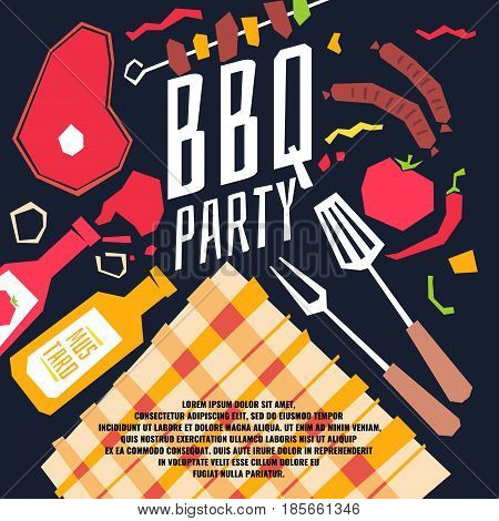 Modern poster BBQ party with a checkered tablecloth, barbecue, vegetables and ketchup. Vector illustration in flat cartoon style